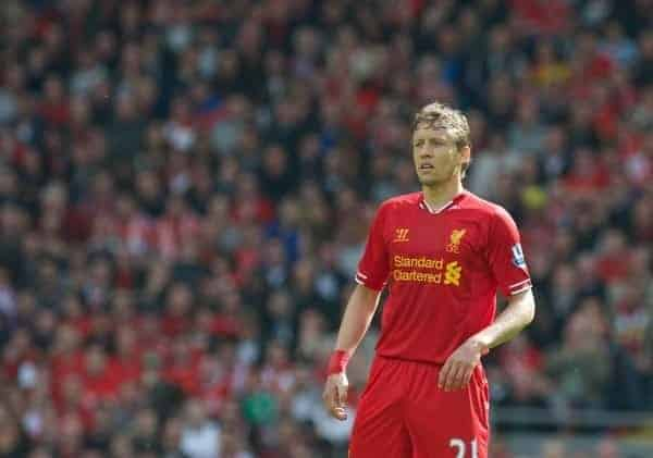 LIVERPOOL, ENGLAND - Sunday, May 19, 2013: Liverpool's Lucas Leiva in action against Queens Park Rangers during the final Premiership match of the 2012/13 season at Anfield. (Pic by David Rawcliffe/Propaganda)