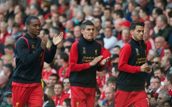 LIVERPOOL, ENGLAND - Sunday, May 19, 2013: Liverpool's substitutes Andre Wisdom, Conor Coady and 'Suso' Jesus Joaquin Fernandez Saenz De La Torre warm-up during the final Premiership match of the 2012/13 season against Queens Park Rangers at Anfield. (Pic by David Rawcliffe/Propaganda)