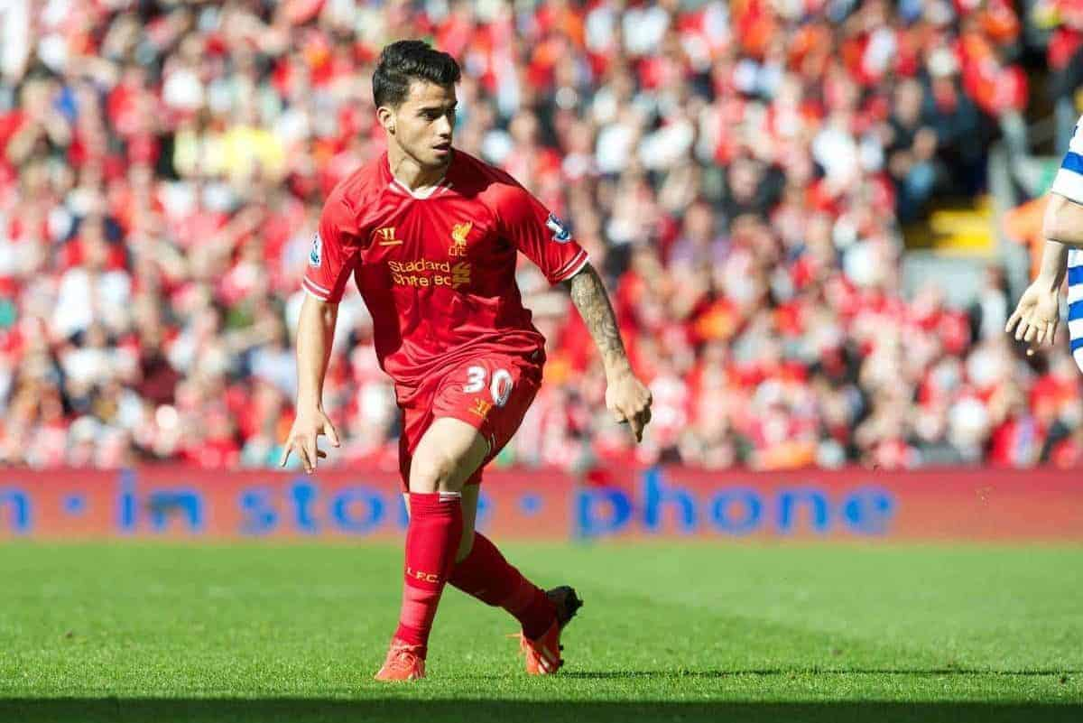 LIVERPOOL, ENGLAND - Sunday, May 19, 2013: Liverpool's 'Suso' Jesus Joaquin Fernandez Saenz De La Torre in action against Queens Park Rangers during the final Premiership match of the 2012/13 season at Anfield. (Pic by David Rawcliffe/Propaganda)