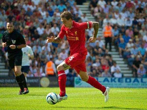 PRESTON, ENGLAND - Saturday, July 13, 2013: Liverpool's Daniel Agger in action against Preston North End during a preseason friendly match at Deepdale. (Pic by David Rawcliffe/Propaganda)