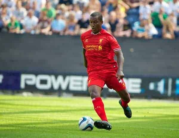 PRESTON, ENGLAND - Saturday, July 13, 2013: Liverpool's Andre Wisdom in action against Preston North End during a preseason friendly match at Deepdale. (Pic by David Rawcliffe/Propaganda)