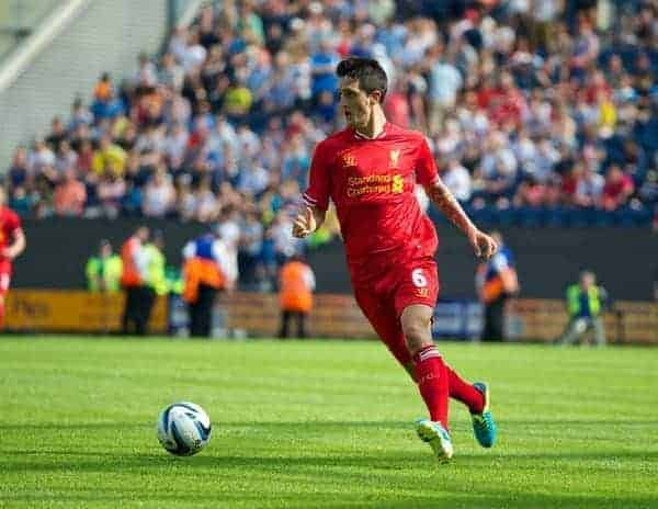 PRESTON, ENGLAND - Saturday, July 13, 2013: Liverpool's Luis Alberto in action against Preston North End during a preseason friendly match at Deepdale. (Pic by David Rawcliffe/Propaganda)