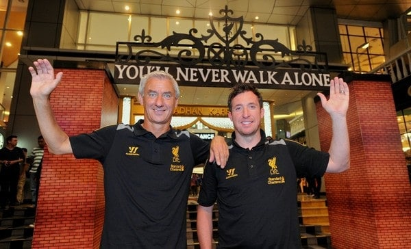 JAKARTA, INDONESIA - Thursday, July 18, 2013: Liverpool ambassadors Ian Rush and Robbie Fowler pose under a replica of the Shankly Gates after a fans' event at the FX Senayan Centre ahead of Liverpool FC's visit to Indonesia as part of their Preseason Tour. (Pic by David Rawcliffe/Propaganda)
