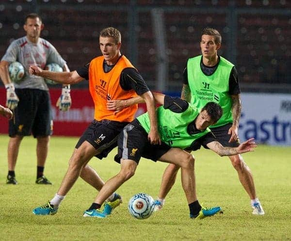 JAKARTA, INDONESIA - Friday, July 19, 2013: Liverpool's Luis Alberto and Jordan Henderson during a training session ahead of their preseason match against an Indonesian XI at the Gelora Bung Karno Stadium. (Pic by David Rawcliffe/Propaganda)