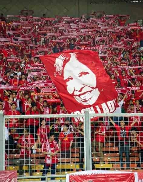 JAKARTA, INDONESIA - Saturday, July 20, 2013: Liverpool supporters' banner of Ann Williams before a preseason friendly against Indonesia XI at the Gelora Bung Karno Stadium. (Pic by David Rawcliffe/Propaganda)