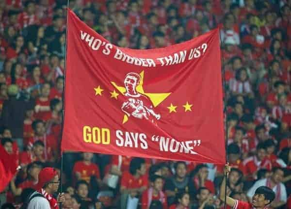 JAKARTA, INDONESIA - Saturday, July 20, 2013: Liverpool supporters' banner 'Who's bigger than us? God says none' during a preseason friendly against Indonesia XI at the Gelora Bung Karno Stadium. (Pic by David Rawcliffe/Propaganda)