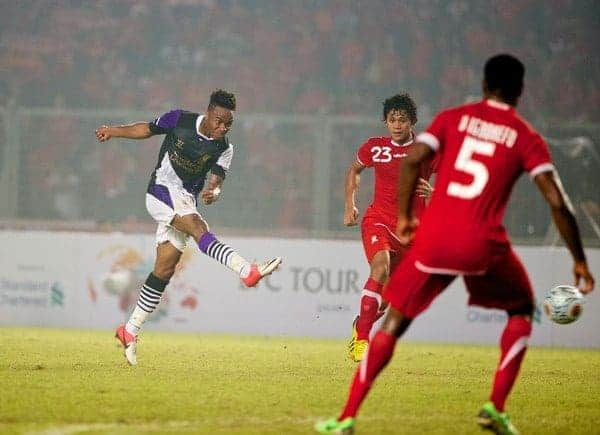 JAKARTA, INDONESIA - Saturday, July 20, 2013: Liverpool's Raheem Sterling in action against an Indonesia XI during a preseason friendly at the Gelora Bung Karno Stadium. (Pic by David Rawcliffe/Propaganda)