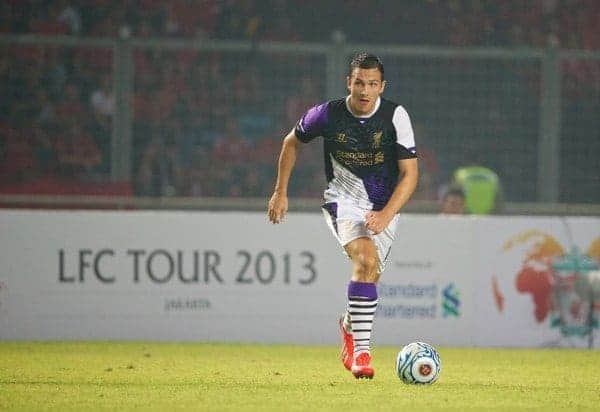 JAKARTA, INDONESIA - Saturday, July 20, 2013: Liverpool's Stewart Downing in action against an Indonesia XI during a preseason friendly at the Gelora Bung Karno Stadium. (Pic by David Rawcliffe/Propaganda)