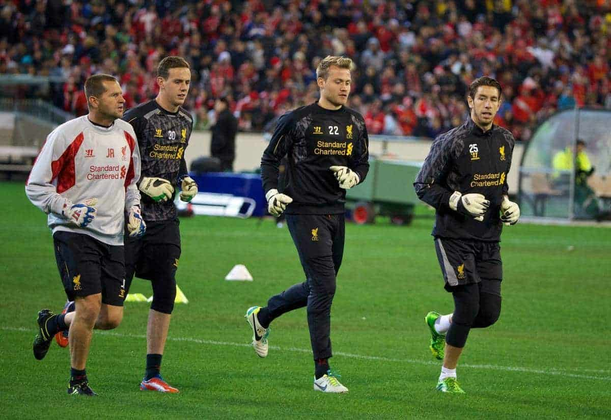 MELBOURNE, AUSTRALIA - Tuesday, July 23, 2013: Liverpool's goalkeeping coach John Achterberg, goalkeeper Danny Ward, goalkeeper Simon Mignolet and goalkeeper Brad Jones during a training session at the Melbourne Cricket Ground ahead of their preseason friendly against Melbourne Victory. (Pic by David Rawcliffe/Propaganda)