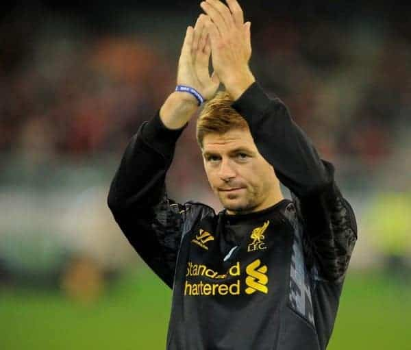 MELBOURNE, AUSTRALIA - Tuesday, July 23, 2013: Liverpool's captain Steven Gerrard waves to the crowd before a training session at the Melbourne Cricket Ground ahead of their preseason friendly against Melbourne Victory. (Pic by David Rawcliffe/Propaganda)