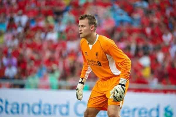 BANGKOK, THAILAND - Sunday, July 28, 2013: Liverpool's goalkeeper Simon Mignolet in action against Thailand XI during a preseason friendly match at the Rajamangala National Stadium. (Pic by David Rawcliffe/Propaganda)