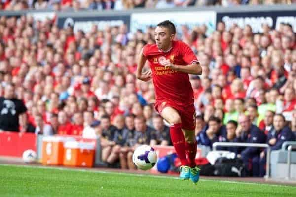 LIVERPOOL, ENGLAND - Saturday, August 3, 2013: Liverpool's Iago Aspas in action against Olympiakos CFP during a preseason friendly match at Anfield. (Pic by David Rawcliffe/Propaganda)