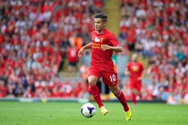 LIVERPOOL, ENGLAND - Saturday, August 3, 2013: Liverpool's Philippe Coutinho Correia in action against Olympiakos CFP during a preseason friendly match at Anfield. (Pic by David Rawcliffe/Propaganda)