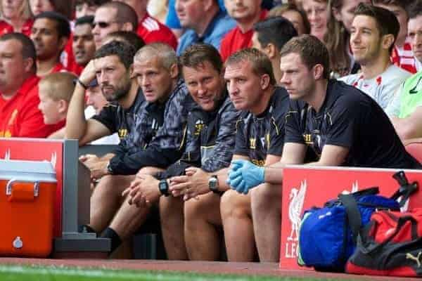 LIVERPOOL, ENGLAND - Saturday, August 3, 2013: Liverpool's manager Brendan Rodgers and assistant manager Colin Pascoe during a preseason friendly match against Olympiakos CFP at Anfield. (Pic by David Rawcliffe/Propaganda)