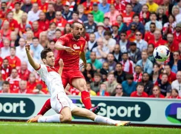 LIVERPOOL, ENGLAND - Saturday, August 3, 2013: Liverpool's Jose Enrique in action against Olympiakos CFP during a preseason friendly match at Anfield. (Pic by David Rawcliffe/Propaganda)