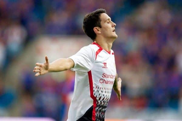 OSLO, NORWAY - Wednesday, August 7, 2013: Liverpool's Luis Alberto celebrates scoring the third goal against Valerenga during a preseason friendly match at the Ullevaal Stadion. (Pic by David Rawcliffe/Propaganda)