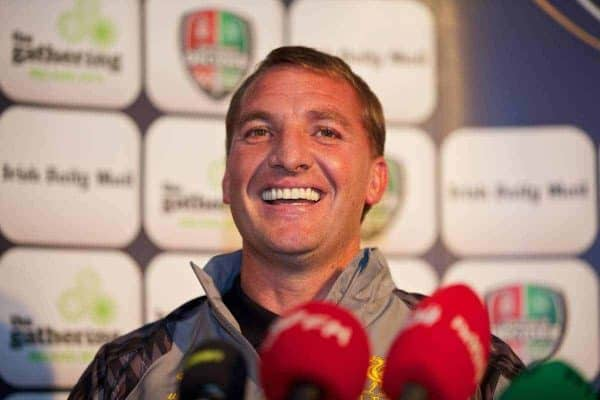 DUBLIN, REPUBLIC OF IRELAND - Friday, August 9, 2013: Liverpool's manager Brendan Rodgers during a press conference at Mansion House ahead of the preseason friendly match against Glasgow Celtic. (Pic by David Rawcliffe/Propaganda)