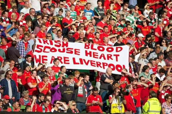 DUBLIN, REPUBLIC OF IRELAND - Saturday, August 10, 2013: Liverpool fans' banner 'Irish Blood Scouse Heart' during a preseason friendly match against Glasgow Celtic at the Aviva Stadium. (Pic by David Rawcliffe/Propaganda)