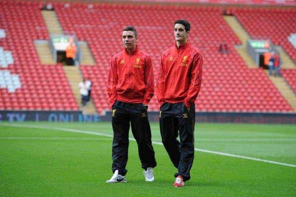 LIVERPOOL, ENGLAND - Saturday, August 17, 2013: Liverpool's Iago Aspas and Luis Alberto before the Premiership match against Stoke City at Anfield. (Pic by David Rawcliffe/Propaganda)