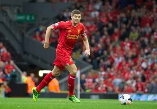LIVERPOOL, ENGLAND - Saturday, August 17, 2013: Liverpool's captain Steven Gerrard in action against Stoke City during the Premiership match at Anfield. (Pic by David Rawcliffe/Propaganda)
