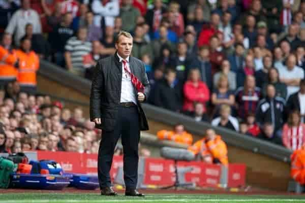 LIVERPOOL, ENGLAND - Saturday, August 17, 2013: Liverpool's manager Brendan Rodgers during the Premiership match against Stoke City at Anfield. (Pic by David Rawcliffe/Propaganda)