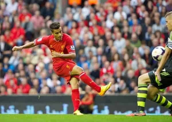 LIVERPOOL, ENGLAND - Saturday, August 17, 2013: Liverpool's Philippe Coutinho Correia in action against Stoke City during the Premiership match at Anfield. (Pic by David Rawcliffe/Propaganda)