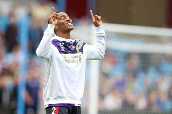 LIVERPOOL, ENGLAND - Saturday, August 24, 2013: Liverpool's Andre Wisdom warms-up before the Premiership match against Aston Villa at Villa Park. (Pic by David Rawcliffe/Propaganda)