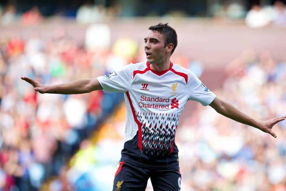 LIVERPOOL, ENGLAND - Saturday, August 24, 2013: Liverpool's Iago Aspas in action against Aston Villa during the Premiership match at Villa Park. (Pic by David Rawcliffe/Propaganda)