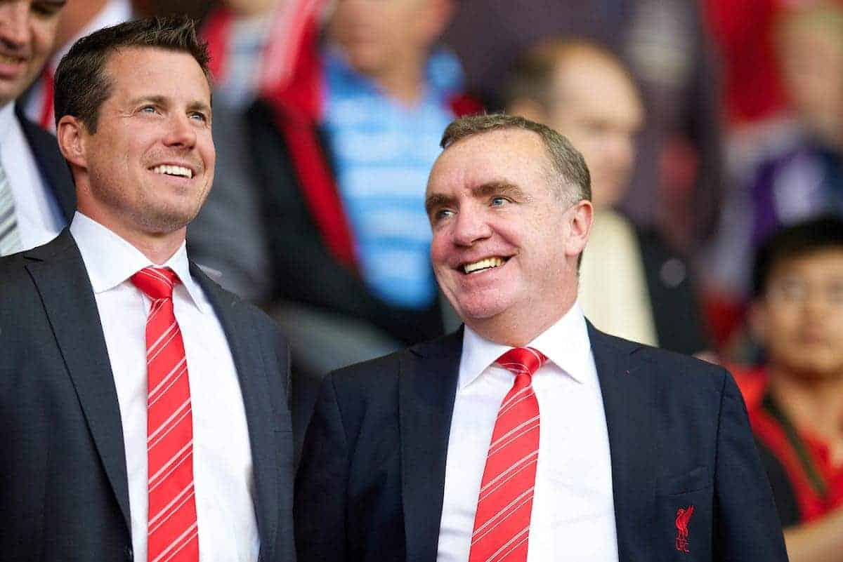 LIVERPOOL, ENGLAND - Tuesday, August 27, 2013: Liverpool's Commercial Director Billy Hogan and Managing Director Ian Ayre during the Football League Cup 2nd Round match against Notts County at Anfield. (Pic by David Rawcliffe/Propaganda)