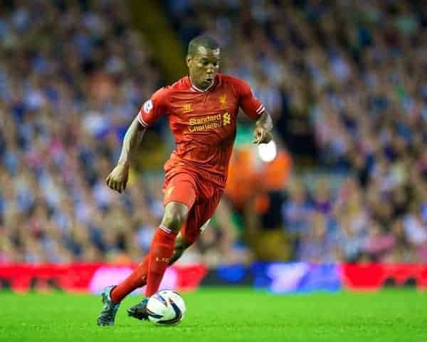 LIVERPOOL, ENGLAND - Tuesday, August 27, 2013: Liverpool's Andre Wisdom in action against Notts County during the Football League Cup 2nd Round match at Anfield. (Pic by David Rawcliffe/Propaganda)