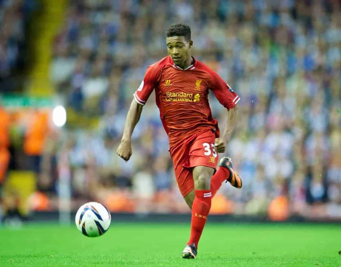 LIVERPOOL, ENGLAND - Tuesday, August 27, 2013: Liverpool's Jordon Ibe in action against Notts County during the Football League Cup 2nd Round match at Anfield. (Pic by David Rawcliffe/Propaganda)