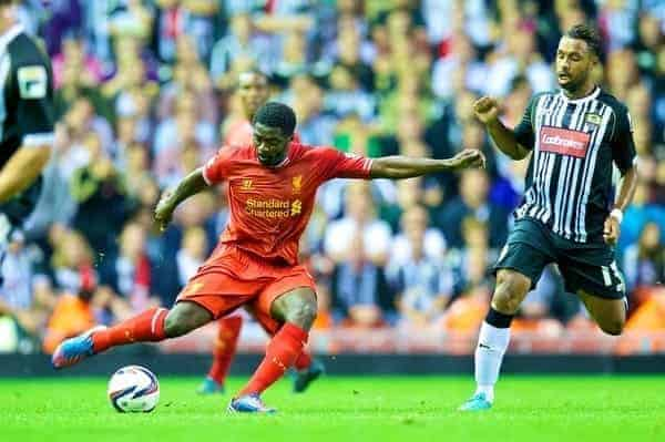 LIVERPOOL, ENGLAND - Tuesday, August 27, 2013: Liverpool's Kolo Toure in action against Notts County during the Football League Cup 2nd Round match at Anfield. (Pic by David Rawcliffe/Propaganda)