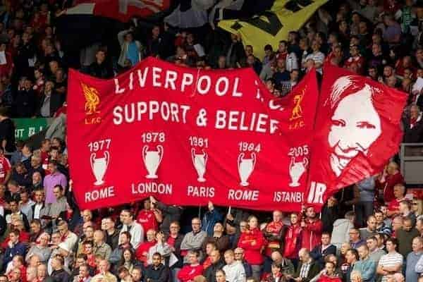 LIVERPOOL, ENGLAND - Sunday, September 1, 2013: Liverpool's supporters on the Spion Kop celebrate their five European Cup wins and remember Anne Williams before the Premiership match against Manchester United at Anfield. (Pic by David Rawcliffe/Propaganda)