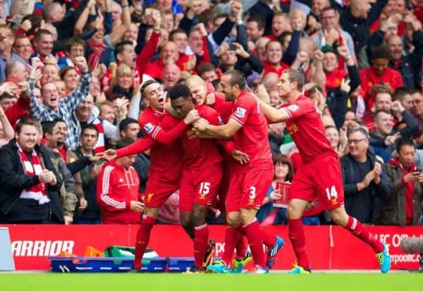 LIVERPOOL, ENGLAND - Sunday, September 1, 2013: Liverpool's Daniel Sturridge celebrates with team-mates Iago Aspas, Martin Skrtel, Jose Enrique and Jordan Henderson after scoring the first goal against Manchester United during the Premiership match at Anfield. (Pic by David Rawcliffe/Propaganda)