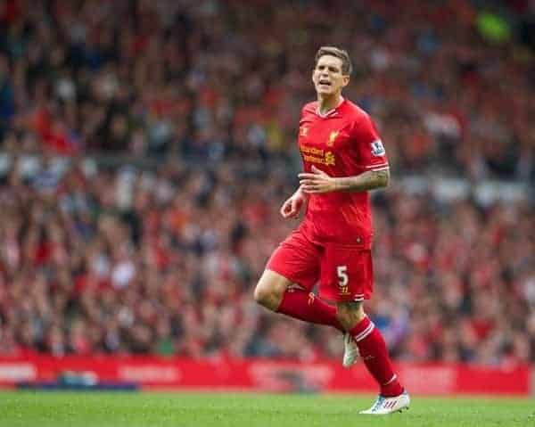 LIVERPOOL, ENGLAND - Sunday, September 1, 2013: Liverpool's Daniel Agger in action against Manchester United during the Premiership match at Anfield. (Pic by David Rawcliffe/Propaganda)