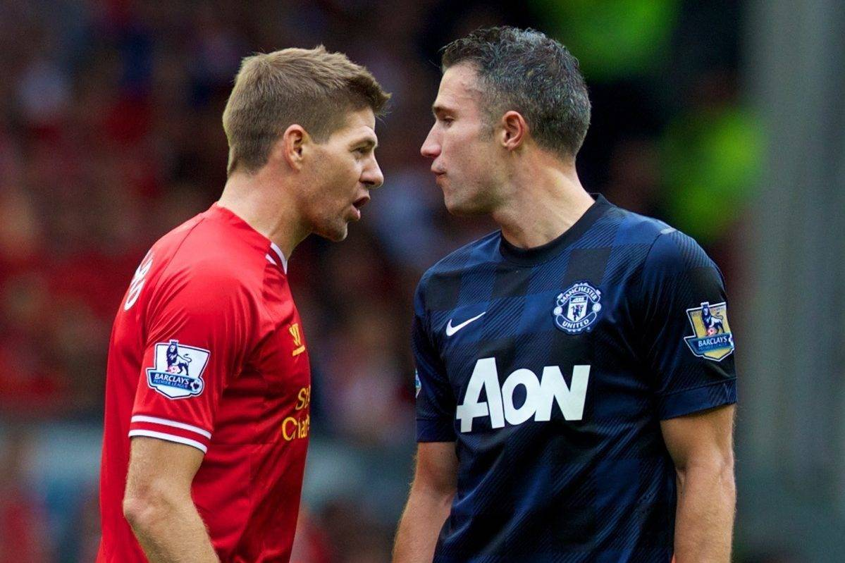 LIVERPOOL, ENGLAND - Sunday, September 1, 2013: Liverpool's captain Steven Gerrard confronts Manchester United's Robin van Persie during the Premiership match at Anfield. (Pic by David Rawcliffe/Propaganda)