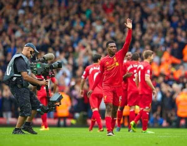 LIVERPOOL, ENGLAND - Sunday, September 1, 2013: Liverpool's Daniel Sturridge celebrates his side's 1-0 victory over Manchester United after the Premiership match at Anfield. (Pic by David Rawcliffe/Propaganda)