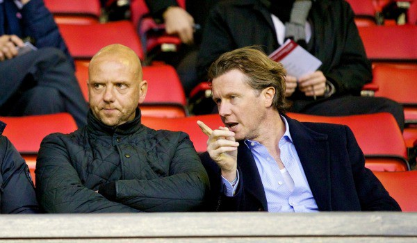 LIVERPOOL, ENGLAND - Tuesday, September 17, 2013: Former Liverpool players Michael Owen, Rob Jones and Steve McManaman during the Under 21 FA Premier League match between Liverpool and Sunderland at Anfield. (Pic by David Rawcliffe/Propaganda)