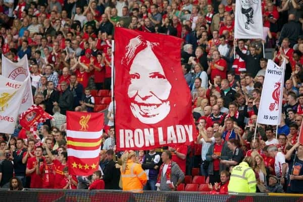 LIVERPOOL, ENGLAND - Saturday, September 21, 2013: Liverpool supporter's banner of Justice campaigner Ann Williams on the Spion Kop during the Premiership match against Southampton at Anfield. (Pic by David Rawcliffe/Propaganda)