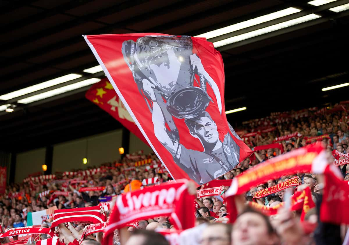 LIVERPOOL, ENGLAND - Saturday, September 21, 2013: Liverpool supporter's flag of captain Steven Gerrard on the Spion Kop during the Premiership match against Southampton at Anfield. (Pic by David Rawcliffe/Propaganda)