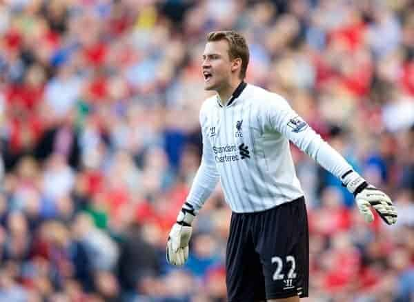 LIVERPOOL, ENGLAND - Saturday, September 21, 2013: Liverpool's goalkeeper Simon Mignolet in action against Southampton during the Premiership match at Anfield. (Pic by David Rawcliffe/Propaganda)