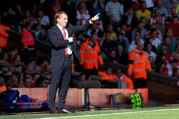 LIVERPOOL, ENGLAND - Saturday, September 21, 2013: Liverpool's manager Brendan Rodgers during the Premiership match against Southampton at Anfield. (Pic by David Rawcliffe/Propaganda)
