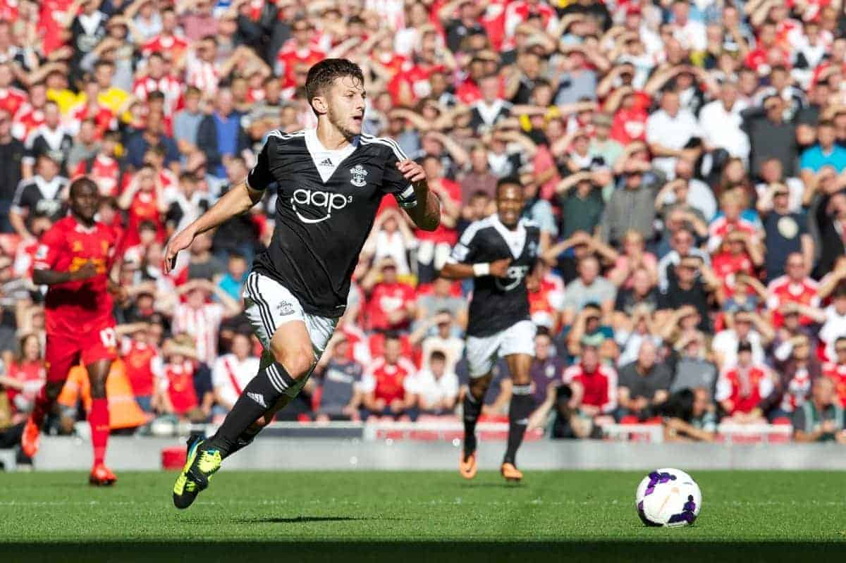 LIVERPOOL, ENGLAND - Saturday, September 21, 2013: Southampton's Adam Lallana in action against Liverpool during the Premiership match at Anfield. (Pic by David Rawcliffe/Propaganda)