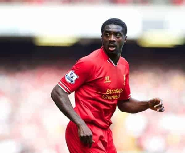 LIVERPOOL, ENGLAND - Saturday, September 21, 2013: Liverpool's Kolo Toure in action against Southampton during the Premiership match at Anfield. (Pic by David Rawcliffe/Propaganda)