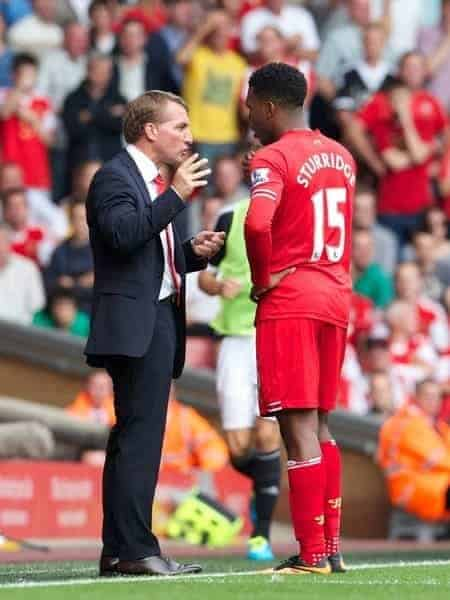 LIVERPOOL, ENGLAND - Saturday, September 21, 2013: Liverpool's manager Brendan Rodgers and Daniel Sturridge during the match against Southampton in the Premiership at Anfield. (Pic by David Rawcliffe/Propaganda)