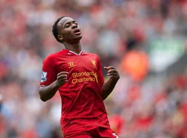 LIVERPOOL, ENGLAND - Saturday, September 21, 2013: Liverpool's Raheem Sterling looks dejected after missing a chance against Southampton during the Premiership match at Anfield. (Pic by David Rawcliffe/Propaganda)