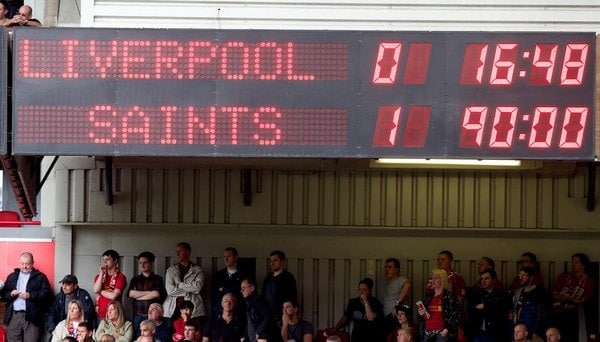 LIVERPOOL, ENGLAND - Saturday, September 21, 2013: The scoreboard records Liverpool's 1-0 defeat by Southampton during the Premiership match at Anfield. (Pic by David Rawcliffe/Propaganda)