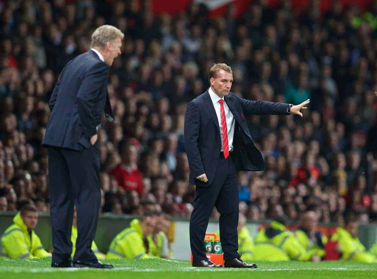 MANCHESTER, ENGLAND - Wednesday, September 25, 2013: Liverpool's manager Brendan Rodgers during the Football League Cup 3rd Round match against Manchester United at Old Trafford. (Pic by David Rawcliffe/Propaganda)