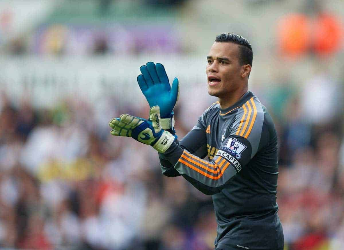 SWANSEA, WALES - Saturday, September 28, 2013: Swansea City's goalkeeper Michael Vorm in action against Arsenal during the Premiership match at the Liberty Stadium. (Pic by David Rawcliffe/Propaganda)