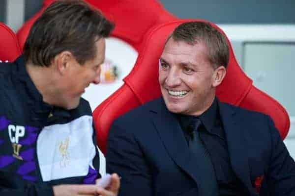 SUNDERLAND, ENGLAND - Sunday, September 29, 2013: Liverpool's manager Brendan Rodgers and assistant manager Colin Pascoe on the bench before the Premiership match against Sunderland at the Stadium of Light. (Pic by David Rawcliffe/Propaganda)